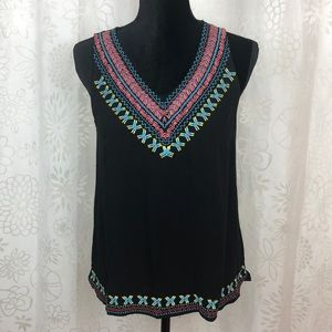 Skies Are Blue embroidered blouse sleeveless SZ S